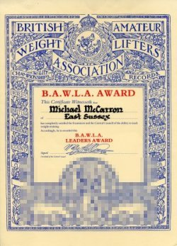 British Amateur Weightlifting Association Leaders Certificate