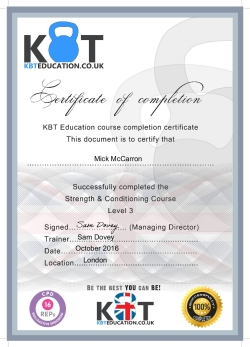Strength & Conditioning Level 3 KBTEducation