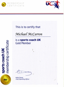 Sports Coach UK Membership Certificate